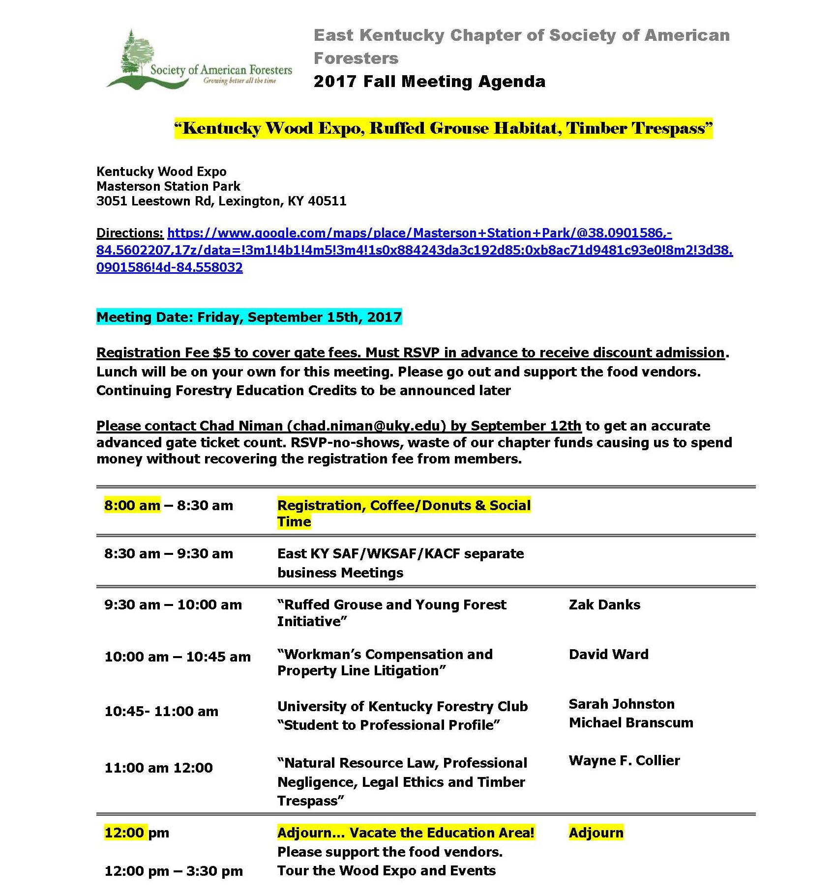 East Kentucky Chapter of Society of American Foresters 2017 Fall Meeting Agenda